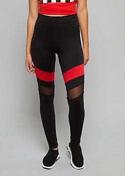 Red Striped Mesh Super Soft Leggings