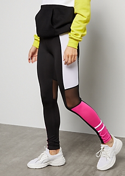 Hot Pink Colorblock Mesh Mid Rise Leggings