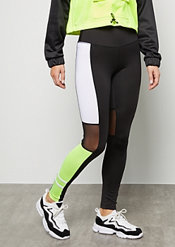 Neon Green Colorblock Mesh Mid Rise Leggings