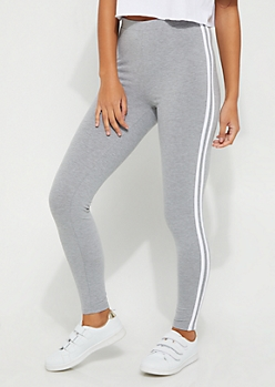 Heather Gray High Waisted Striped Leggings
