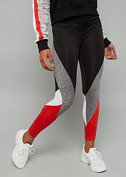 Red Colorblock Space Dye Mid Rise Leggings
