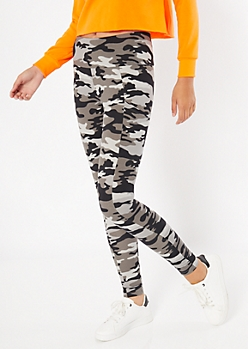 Black Camo Print Mid Rise Cell Phone Pocket Leggings