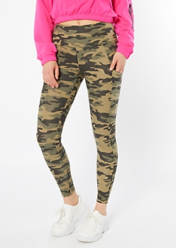 Camo Print Mid Rise Cell Phone Pocket Leggings