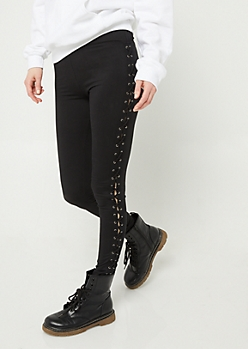 Black Lace-Up Soft Knit Leggings