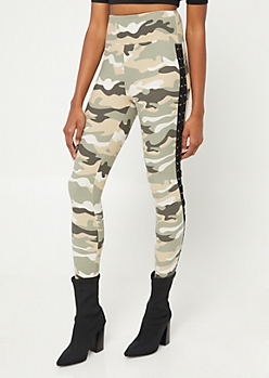 Camo Lace-Up Side Leggings