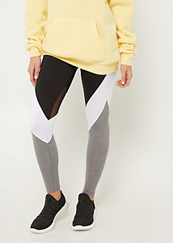 Black Colorblock Mesh High Waist Leggings