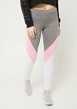 Pink Colorblock Mesh High Waist Leggings