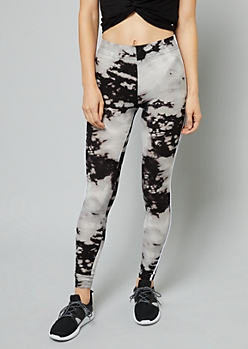 Black Tie Dye Side Striped Leggings