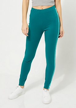 Teal High Waisted Striped Pattern Leggings