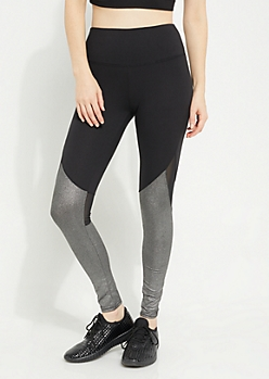 Silver Metallic Mesh Paneled High Rise Leggings