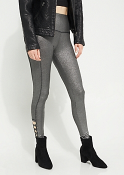 Pewter Metallic Lattice Ankle Leggings