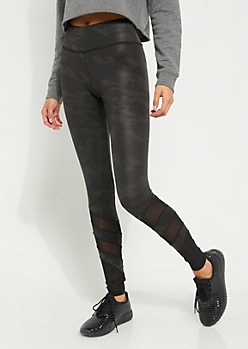 Black Camo Faux Leather Mesh Cutout Leggings