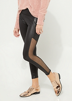 Black Fishnet Insert Faux Leather Leggings