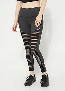 Gray Mesh Panel Leggings