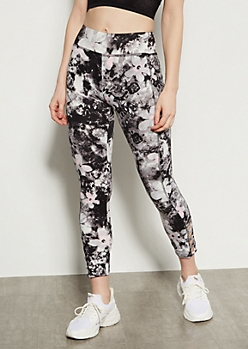Black Tie Dye Super Soft Floral Print Lattice Leggings