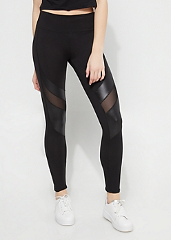 Black Mesh Matte Paneled Athletic Leggings