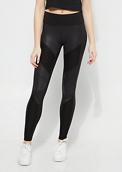 Black Moto Contrast Paneled Athletic Leggings