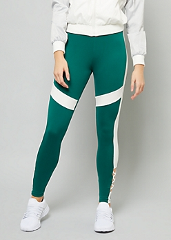 Green Colorblock Super Soft Lattice Ankle Leggings