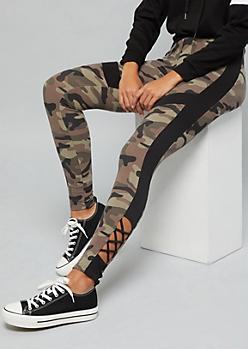 Camo Print Colorblock Super Soft Lattice Ankle Leggings