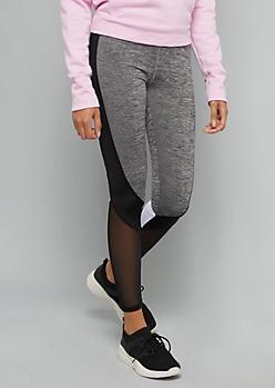 Gray Colorblock Mesh Side Striped Leggings