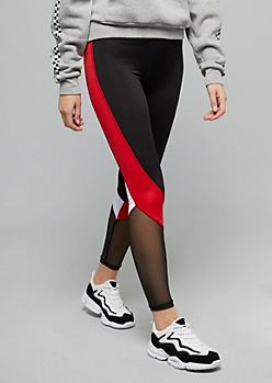 Red Colorblock Mesh Side Striped Leggings