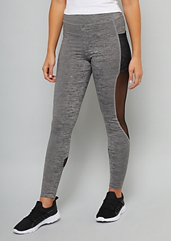 Black Space Dye Mesh Accent Pocket Leggings