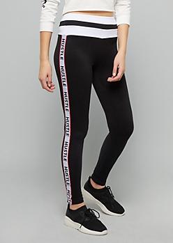 Black Hustle Side Striped Super Soft Leggings