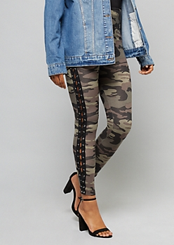 Camo Print Super Soft High Waisted Lace Up Leggings