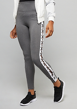 Gray Super Soft High Waisted Lace Up Leggings