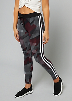 Burgundy Geo Print Double Side Striped Leggings