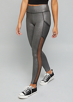 Silver Glitter Mesh Accent Pocket Leggings