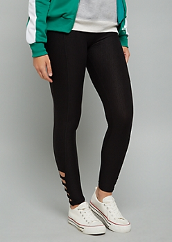 Black Crisscross Caged Ankle Mid Rise Leggings