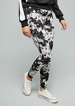 Black Tie Dye Crisscross Mesh Mid Rise Leggings