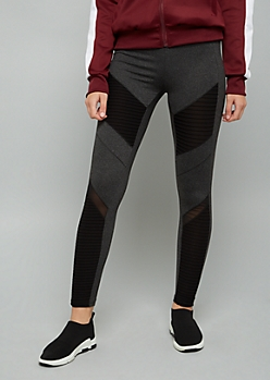 Gray Mid Rise Moto Leggings