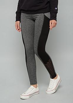 Charcoal Gray Side Pocket Mesh Ankle Leggings