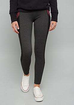 Gray Colorblock Side Pocket Low Rise Leggings