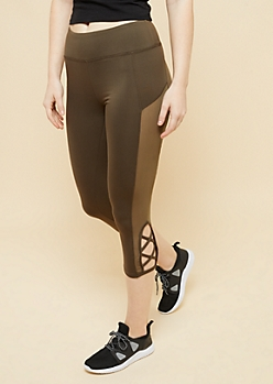 Olive Lattice Mesh Cropped Active Leggings