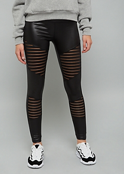 Black Faux Leather Mesh Striped Mid Rise Leggings