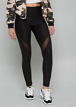 Black Speckled Mesh Mid Rise Leggings