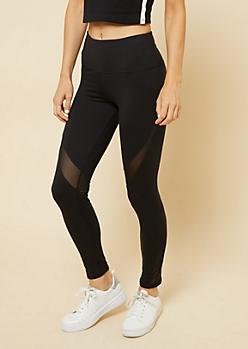 Black Mid Rise Diagonal Mesh Panel Leggings