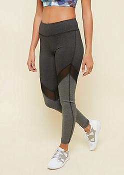 Charcoal Gray Chevron Mesh Leggings