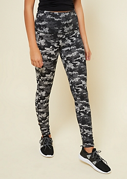 Black Camo Print High Waisted Lattice Detail Leggings