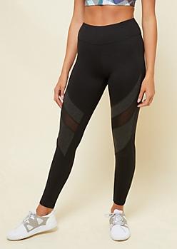 Black Diagonal Mesh Panel Leggings