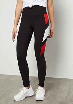 Red Diagonal Side Striped Super Soft Leggings