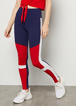 Navy Striped Colorblock Super Soft Mid Rise Leggings
