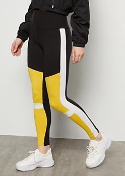 Mustard Striped Colorblock Super Soft Mid Rise Leggings