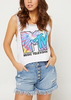 White Tie Dye MTV Cropped Tank Top