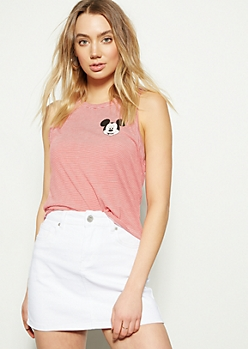 Red Striped Mickey Mouse Graphic Tank Top