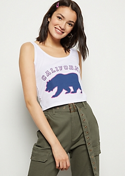 White California Bear Print Graphic Tank Top