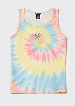 Bright Tie Dye Drippy Smiley Tank Top